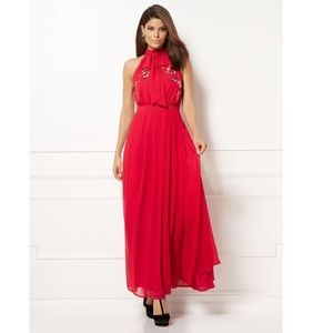 NY&C Eva Mendes Ximena collection red halter dress